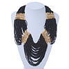 Chunky Black & Gold Glass Bead Bib Necklace In Gold Plating -  52cm Length/ 9cm Extension