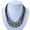 Multistrand Oval Link Black Leather Cord Necklace - 42cm Length/ 6cm Extender