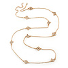 Long Crystal Butterfly & Flower Necklace In Gold Plating - 124cm Length/ 6cm Extension