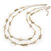 2 Strand White Glass & Gold Acrylic Bead Long Necklace In Gold Plating - 90cm Length/ 6cm Extension