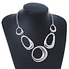 Ethnic Oval Link Chunky Neckace In Silver Plating - 38cm Length/ 5cm Extension