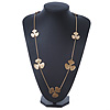 Long Gold Plated Textured 'Trefoil' Necklace - 100cm Length/ 6cm Extension