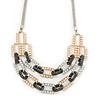 Silver/ Gold/ Black Tone Diamante Square Link Mesh Chain Necklace - 52cm Length/ 7cm Extension