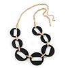 Long Open Round Black Resin Bead Necklace In Gold Plating - 70cm Length/ 6cm Extension