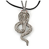 Gold Plated Crystal 'Cobra' Pendant With Black Suede Cord & Black Tone Chain - 70cm Length