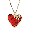 Red Enamel Crystal Heart Pendant With Gold Tone Long Chain - 70cm Length/ 7cm Extension