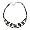Victorian Style Black/ Green Crystal Choker Necklace In Gun Metal Finish - 26cm L/ 6cm Ext