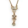 Light Grey/ Beige Enamel Floral Dangle Pendant Gold Tone Chain Necklace - 36cm Length/ 8cm Extension