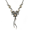 Grey, Cream Enamel Floral Y Shape Necklace In Pewter Tone Metal - 38cm L/ 6cm Ext