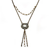 Vintage Inspired Imitation Pearl Square Tassel Pendant With 42cm L/ 4cm Ext Chain In Bronze Tone