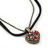 Small Filigree Red Crystal Heart With Black Suede, Bronze Tone Bead Chain - 36cm L/ 4cm Ext