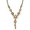 Vintage Inspired Pastel Enamel, Crystal Floral V-Shape Necklace In Bronze Tone Metal - 38cm Length/ 6cm Extension