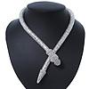 Silver Tone Swarovski Crystal 'Snake' Magnetic Necklace - 43cm Length