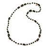 Black Glass, Ceramic Bead With Gold Tone Wire Long Necklace - 88cm L