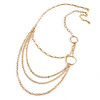 Gold Plated Layered Oval Link Asymmetrical Necklace - 86cm L