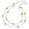 Long 2 Strand Matt Gold Floral Necklace - 98cm L