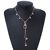 Vintage Inspired Heart, Freshwater Pearl, Flower Charms Necklace With Long Tassel In Silver Tone - 36cm Length/ 5cm Extension