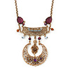 Vintage Inspired Filigree, Purple Stone, Freshwater Pearl Necklace In Gold Tone Metal - 36cm Length/ 4cm Extension