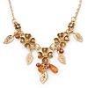 Beige Enamel Flower, Leaves, Bead Necklace In Gold Tone Metal - 38cm L/ 6cm Ext