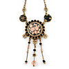 Vintage Inspired Black Crystal, Enamel Floral Medallion Pendant Necklace In Burn Gold Metal - 36cm Length/ 8cm Extension
