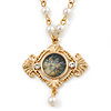 Victorian Style Floral Pendant With Gold Tone Beaded Chain - 56cm L/ 5cm Ext