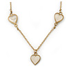 Romantic Mother of Pearl Triple Heart Necklace In Gold Plating - 38cm Length/ 7cm Extension