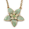 Mint Green Enamel Flower Pendant With Gold Tone Chain - 36cm Length/ 7cm Extension