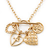 Gold Tone Multi Heart Charm Pendant With 34cm L/ 7cm Ext Chain