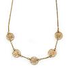 Matt Gold Tone Floral Necklace - 38cm L/ 5cm Ext