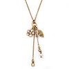 Vintage Inspired White Flower, Leaf, Freshwater Pearl Charms Necklace In Gold Tone Metal - 38cm Length/ 8cm Extension