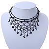 Chic Victorian/ Gothic/ Burlesque Black Acrylic Bead Bib Flex Choker Necklace