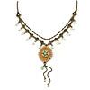 Vintage Inspired Caramel/ Green Enamel Floral Pendant with Bronze Tone Chain Necklace - 40cm L/ 8cm Ext/ 8cm Front Drop