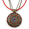 Vintage Inspired Red Crystal Filigree Medallion Pendant With Multi Chains - 34cm L/ 5cm Ext