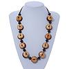 Brown Button Shape Wood Bead Cotton Cord Necklace - 70cm L (Adjustable)