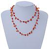 Orange Ceramic Bead, Glass Nugget Cotton Cord Long Necklace - 90cm L