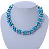 Light Blue & Silver Tone Acrylic Bead Cluster Choker Necklace - 38cm L/ 5cm Ex