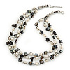 3 Strand Freshwater Pearl, Slate Black Shell Nugget Necklace In Silver Tone - 40cm L/ 4cm Ext