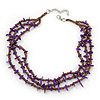3 Strand Violet Shell Nugget, Lavender Glass Bead Necklace In Silver Tone - 42cm L/ 5cm Ext