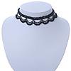 Chic Victorian/ Gothic/ Burlesque Black Bead Choker Necklace - 32cm Length/ 8cm Extension