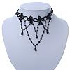 Chic Victorian/ Gothic/ Burlesque Black Bead Choker Necklace - 31cm Length/ 8cm Extension