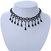 Fancy Dress Party Black Acrylic, Glass Bead Choker Necklace - 32cm L/ 7cm Ext