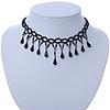 Fancy Dress Party Black Acrylic, Glass Bead Choker Necklace - 32cm L/ 7cm Ext