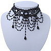 Statement Victorian/ Gothic/ Burlesque Black Acrylic, Glass Bead Choker Necklace - 26cm L/ 8cm Ext