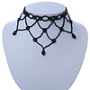Fancy Dress Party Black Acrylic, Glass Bead Bib Choker Necklace - 28cm L/ 7cm Ext