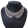 Clear Austrian Crystal Collar Necklace In Silver Tone - 28cm Length/ 15cm Extension