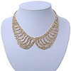 Clear Austrian Crystal Collar Necklace In Gold Plating - 28cm Length/ 15cm Extension