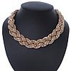 Gold Tone Plaited Mesh Choker Necklace - 38cm Length/ 4cm Extension