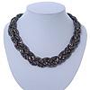 Hematite Tone Plaited Mesh Choker Necklace - 38cm Length/ 4cm Extension