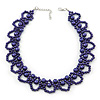 Purple Imitation Pearl Bead Collar Style Necklace In Silver Tone - 36cm L/ 6cm Ext
