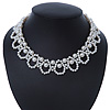 White Imitation Pearl Bead Collar Style Necklace In Silver Tone - 36cm L/ 6cm Ext